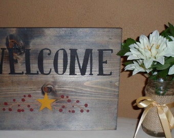 Rustic Blue Stained Hand Crafted Primitive Welcome Sign with Stars and Berries