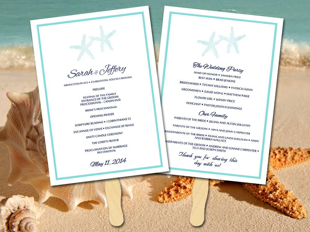 Beach Wedding Program Fan Template Ceremony