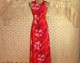 Hawaiian Dress Beach Dress Maxi Dress Red Tropical Floral Summer Dress Sleeveless Long Dress Luau Size 2 Size 4 Small XS Womens Clothing