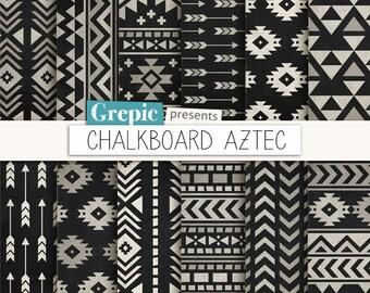 "Aztec digital paper: ""CHALKBOARD AZTEC"" aztec patterns, tribal backgrounds, black, white, chalk, geometric, native, triangles, arrows"