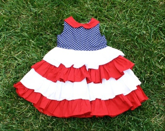 Blanche's Dress, Patriotic, 4th of July Ruffled Dress (Sizes 6-12 Months to 8 available)