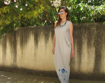 Draped one shoulder Maxi dress, Asymmetric cotton Kaftan dress,Loose gray Long tie dye Dress