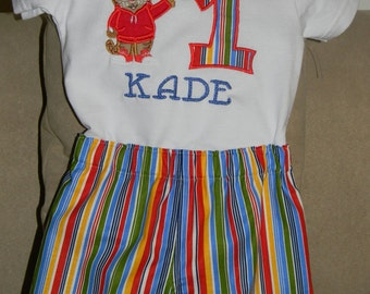 Daniel Tiger shirt and shorts set, boy's, with appliques and monogram.