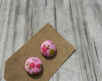 Vintage Inspired Pink Floral Fabric Button Earrings