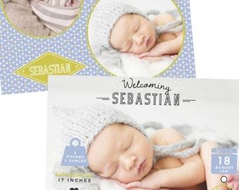 Birth Newborn Announcement Template - Baby Boy - E14