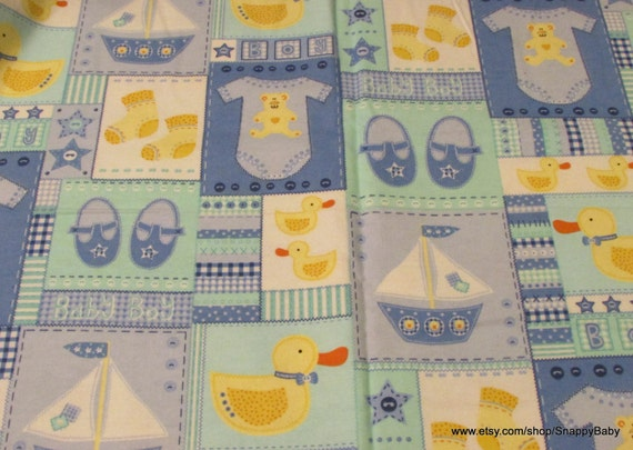 Flannel fabric baby block boy 1 yard 100 cotton by snappybaby for Children s flannel fabric by the yard