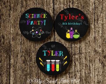 Science Cupcake Topper - chalkboard cupcake topper - science sticker - science tag - chalkboard science printable - science chalkboard label