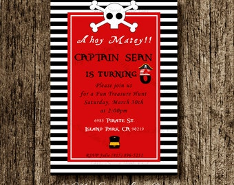 Pirate invitation - Pirate invite boy -  Pirate printable - Pirate birthday - boy pirate invitation - red pirate party