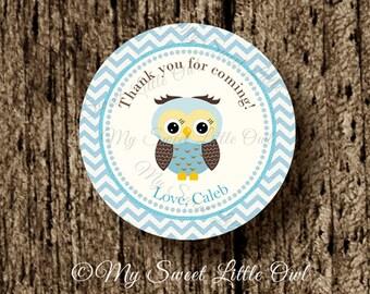 Owl cupcake topper - blue owl sticker - owl party - owl baby shower - boy owl sticker - owl label - owl tag - owl printable - brown blue owl