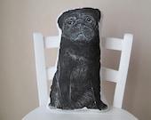 pug throw pillow real size stuffed animal for dog lovers black pug plush decorative pillow cushion painted pug shaped realistic animal