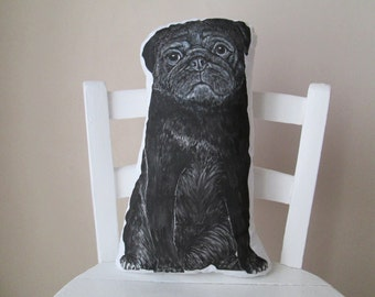 pug throw pillow real size stuffed animal for dog lovers black pug plush decorative pillow cushion painted pug shaped realistic animal