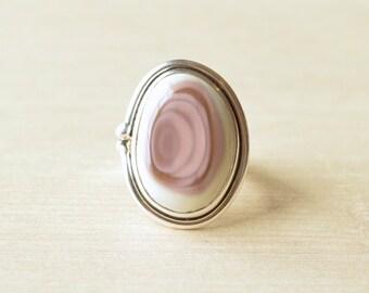 Pink & Cream Imperial Jasper Ring