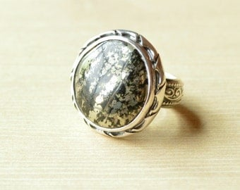 Antiqued Healer's Gold Ring // Healer's Gold Jewelry // Pyrite Jewelry // Sterling Silver // Village Silversmith