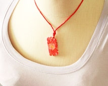 Hand Painted Red Flower Necklace, Red Flower Necklace, Hand Painted Domino Necklace, Domino Necklace, Painted Flower Necklace