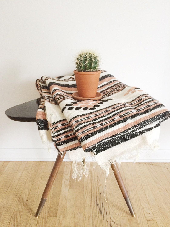 Vintage Woven Wool Blanket Boho Woven Striped By