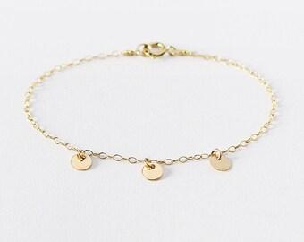 gold charm bracelet 14k gold filled coin bracelet gift for