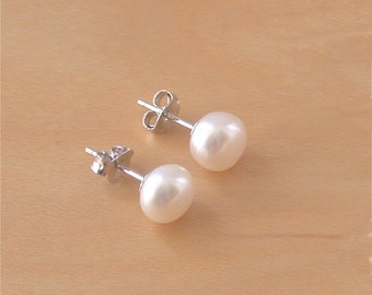 925 White Freshwater Pearl Stud Earrings/White Pearl Studs/Pearl Jewellery/Pearl Jewelry/Pearl Jewelery/June Birthstone/7mm Pearl Earrings