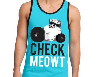 CHECK MEOWT Workout Tank Top Men's, Men's Workout Clothes, Cat Workout Tank, Workout Shirt, Gym Tank, Gym Clothing, Cat