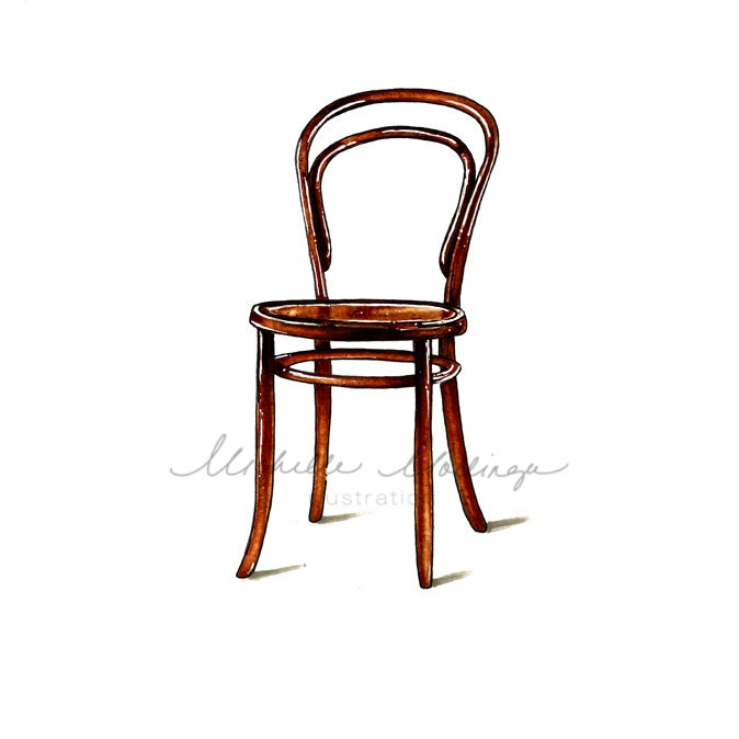 Thonet Bentwood Chair Illustration Art Print Home Decor