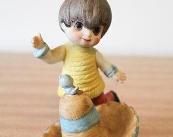Vintage 1970s Cute Kitsch Boy Dancing Around A Sombrero