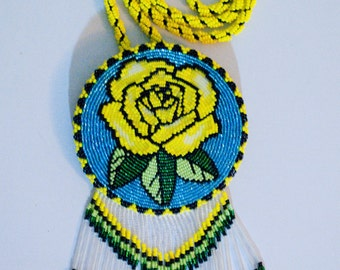 Native American Beaded Medallion Necklace Yellow Rose