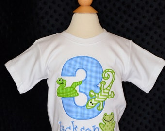 Personalized Birthday Reptiles Lizard Frog Snake Applique Shirt or Onesie Girl or Boy