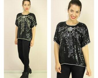 Vintage 80s Black Sequin Silk Top