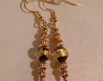 Gold and Black Dangle Earrings Item No. 68