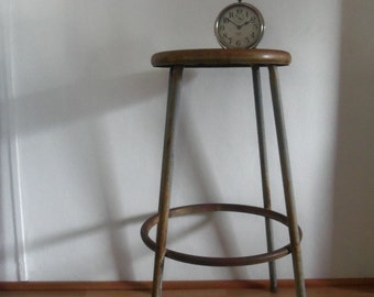 Just Reduced Tall Distressed Industrial Metal Stool- Table- Plant Stand : vintage metal stool - islam-shia.org