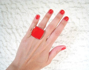 Ruby Red ring, red resin ring, red glass ring, color block jewelry, modern minimalist, big chunky square ring, stainless steel ring
