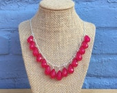 Pink Statement Necklace, Bright Pink Necklace, Pink Bib Necklace, Hot Pink Statement Necklace, Neon Pink Necklace, Teardrop Necklace