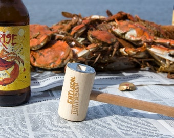Eat Local - Drink Local - Crab Mallet Bottle Opener - Recycled Wood Barware for Craft Beer and Locavores Father's Day Gift