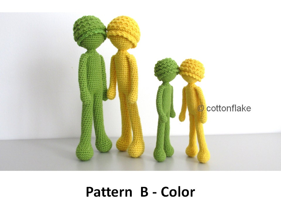 Crochet Amigurumi Doll Body : Pattern B Color doll amigurumi crochet human body