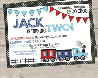 Train Boy's Birthday Party Invitation