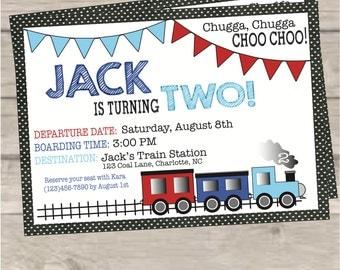Train Boy's Birthday Party Invitation
