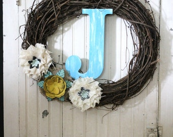 Free Shipping - Twig Burlap and Metal Flower Wreath - Custom Letter - Teal Yellow Wreath - Farmhouse Chic - Shabby Chic - Door Wreath