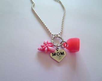 CLEARANCE Gilmore Girls  Inspired Hot Pink Charm Necklace