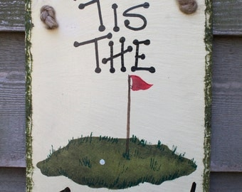 Tis the Season Golf hand painted Wall-hanging Slate