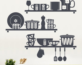Scandinavian Kitchen Shelves Wall Sticker - Nordic Style Kitchen Wall Decal - Wall Graphics - Vinyl Wall Sticker - Scandinavian Design