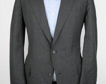 Grey Mens Suit Jacket - Brooks Brothers Modest Striped Wool 40 L Sport Coat Blazer