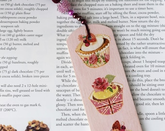 Wooden Bookmark, Cupcake motif Bookmark, Decoupage bookmark, Birthday gift, Gift for a book lover