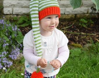 Crochet Elf hat, Elfin Toddler Hat, Boys hat, Girls hat, Gnome hat, a striped Elf hat, Gnome hat, Christmas hat
