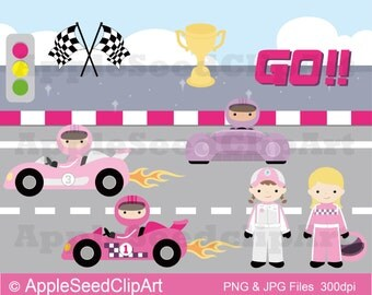 Race Cars Digital Clip Art, Instant Download, Cute Girls DIgital Clip Art