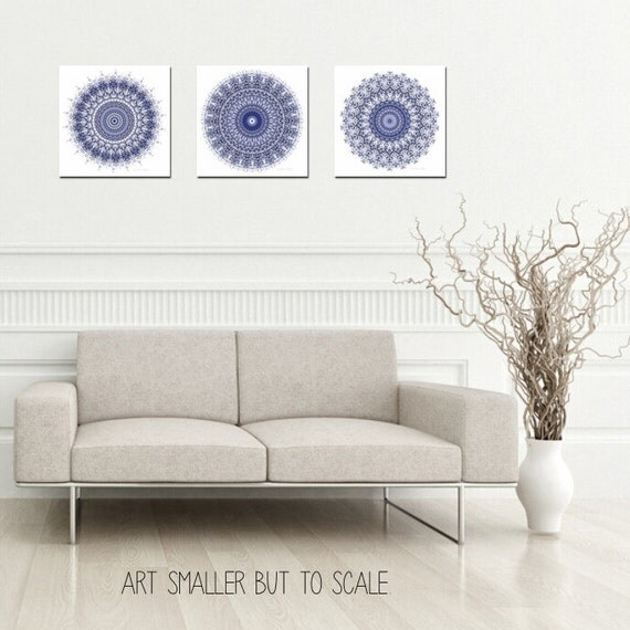 Navy Bathroom Wall Decor : Mandala wall art set of prints navy blue by featherandindigo