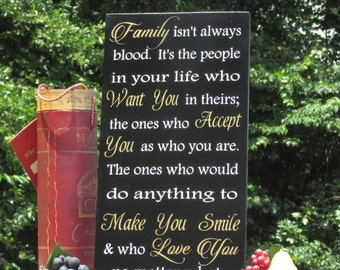 Blended Family isn't always blood Sign Painted with Black Background Painted White Lettering & Gold Accents / Wedding, Reception, Home Decor