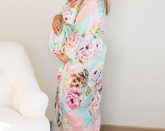 Floral 500 maternity robe various length delivery, feeding, child birth, pregnancy and labor, baby shower gift, wrap around robe lounge wear
