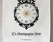 champagne time linen tea towel