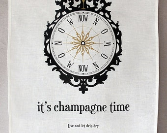 champagne time linen tea towel