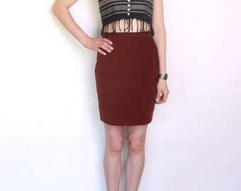 90's faux suede skirt, high waisted pencil mini skirt, rusty brown velvet suede skirt, size small or medium