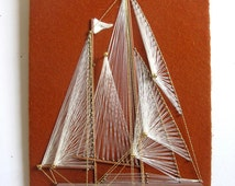 Vintage 1980s Wall Hangings Sailboat WindJammer String Art Craft Picture Home Décor